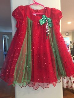 4T Bonnie Jean red and green sparkle babydoll dress.