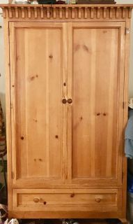 Solid Wood Distressed Pine Armoire. Custom made