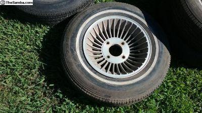 2 Vintage Alum. Turbine 14' VW 4-Lug Wheels