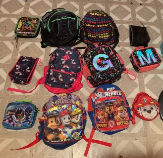 Kids backpacks and lunch bags