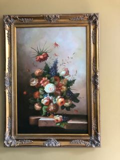 M Aaron Oil on Canvas Framed Painting