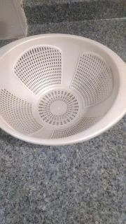 Large plastic food strainer. 12 in diameter. 5 inches high,