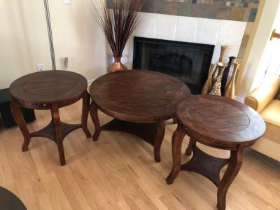 Modern Rustic-Style Solid Wood End Table Set of 2 + Coffee Table by Ashley Furniture