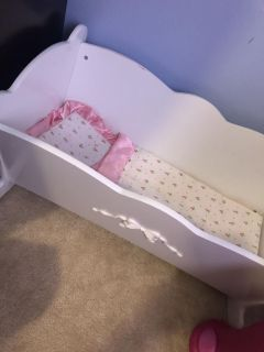 Wooden baby doll rocking bed