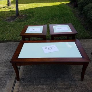 Wood/Glass Coffee and Side Table Set