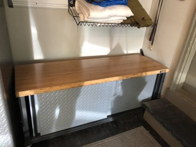 Gladiator Garageworks storage bench with wood top. Great for shoes