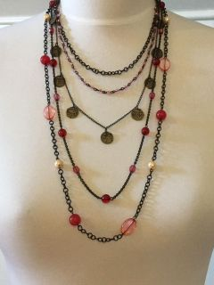 American Eagle Antiqued 5 Strand Coin Necklace