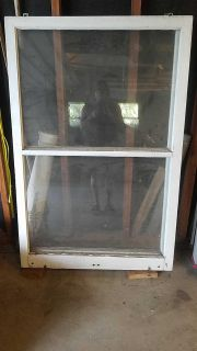 Large old wooden window
