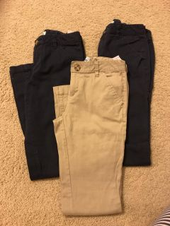 Old Navy girls size 12 uniform pants. 2 Navy, 1 khaki. Great condition. Porch pickup. All for $10.