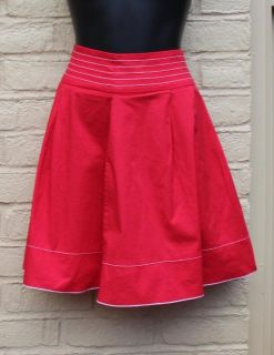 SWEET RED WITH WHITE TRIM FLARE SKIRT