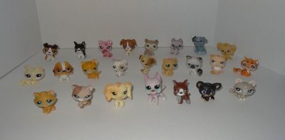 Littlest Pet Shop Lot of 24 Retired Pets (10 Cats & 14 Dogs) - LPS