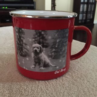 Old Navy White enamel dog tin cup. 0.50 or free with any purchase.