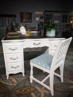 Vintage French Provincial Desk / Vanity (and Chair)