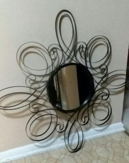 LARGE/WROUGHT IRON WALL DECOR WITH MIRROR..... EXCELLENT CONDITION