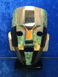 Stone and Shell Inlay Mask Sculpture