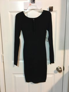 NEW - with TAGS - BLACK SWEATER DRESS. LACE UP FRONT. PICTURE BELOW. SIZE MEDIUM. 7-9