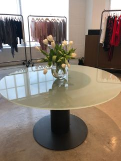 """54"""" round glass top dining table"""