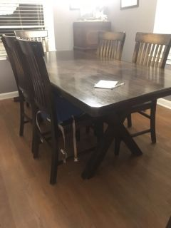Wood Dining table with six (6) chairs