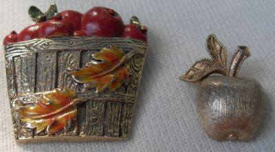 Fall Brooches 2 Bushel of Apples and an Apple