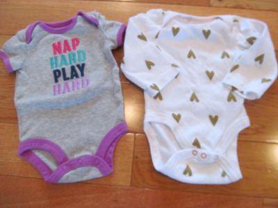 Carters and Cloud Island NB onesies (nap hard short sleeve, white with hearts long sleeve) *Price is for both