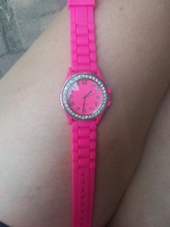 Pink watch with diamonds