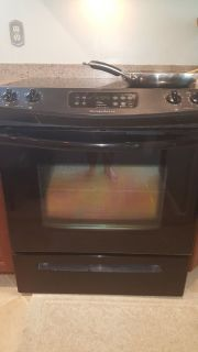 Slide in black self cleaning stove