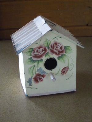 Rose Painted Tin Bird House