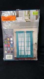 Shimmer by Artistic Linen Luxurious Rod Pocket Window Curtain Panel in Turquoise