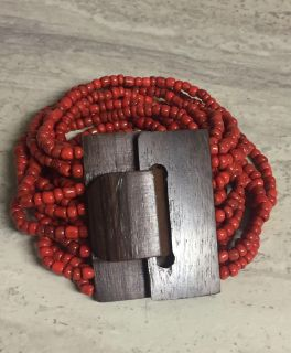 New Super Cute Statement Bracelet. Multi Strand Beads with Wooden Clasp. CP.