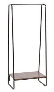 IRIS Metal Garment Rack with Wood Shelf, Black and