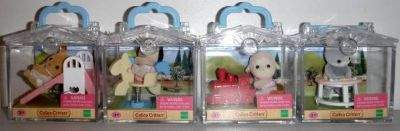 New! 4 Calico Critters Friends w/ Mini Carry Case ~Deer Dog Lamb Bunny