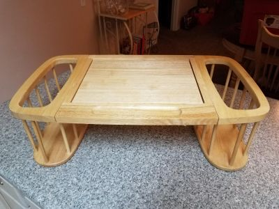 2FT 4 INCHES X 1FT 4 INCHES, WOODEN LAP TOP COMPUTER TABLE, EXCELLENT CONDITION, SMOKE FREE HOUSE