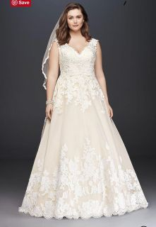 Scalloped Lace and Tulle Plus-Size Wedding Dress