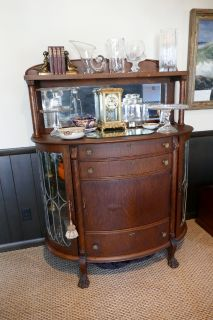 ANTIQUE CURVED EMPIRE SIDEBOARD BUFFET! EARLY 1900'S