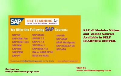 Learn SAP Courses Best Price are Available in self Learning Center . Courses Details : www.selflearningsap.com