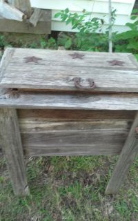 Western rustic wooden ice chest cross-posted no-holds