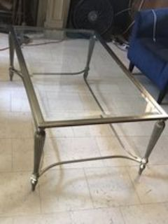 Brushed aluminum glass coffee table