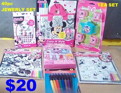 5 New Disney Minnie Mouse Items Tea Set, 40 pc. Jewelry Set & More. Play Make-Up Kit & Markers