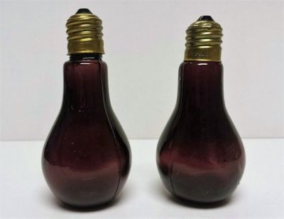 Vintage Purple Glass Light Bulb Salt & Pepper Shakers Antique