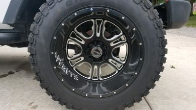 Vision Offroad wheels 397 Rage-20x12 with Ginell GN3000 tires-like new condition 35/12.50/20