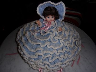 Blue & white dress collection doll By Bettie L. Carter Part of a decor