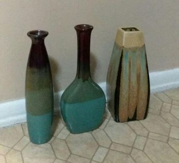 THREE/MATCHING VASES.....EXCELLENT CONDITION