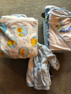 Lot of 15 Baby Boy Bath Towels + 3 Baby Robes