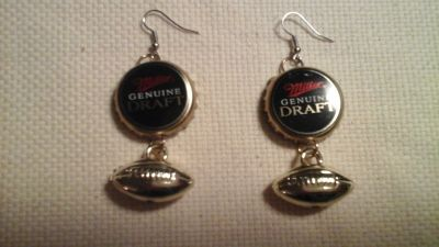 Miller Genuine Draft beer Football Earrings NEW!