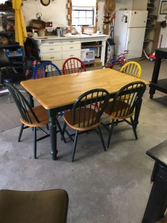 Good solid table and 6 sturdy chairs