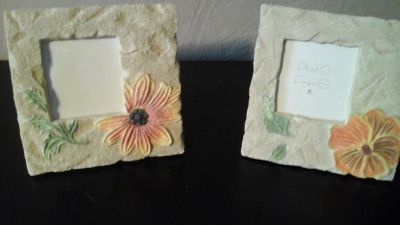 Two Flowered Picture Frames 6x6 Perfect Condition