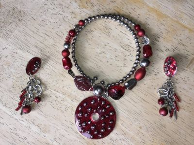 Red & Silver Beaded Wrap Around Necklace & Earrings