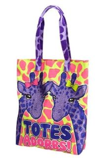Justice Totes Adorbs Sparkle Giraffe Tote Bag Beach Pool Pink Purple Yellow