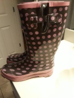 Brown and Pink Rain Boots