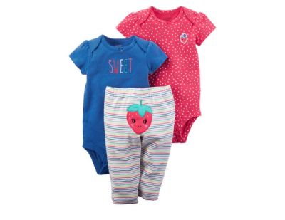 NEW! Carters Preemie 3-Piece Strawberry Character Bodysuit and Pant Set